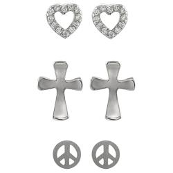 Journee Collection Silver Cross, Peace, and Cubic Zirconia Heart Stud Earrings (Set of 3)