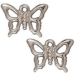 Beadaholique Rhodiumplated Pewter Open Butterfly Charms (Set of 2)