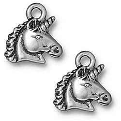 Beadaholique Silverplated Pewter Unicorn Horse Head Charms (Set of 2)