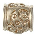 Sterling Essentials Gold over Silver Scroll Bali Bead