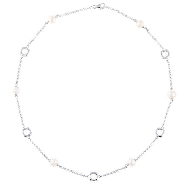 La Preciosa Sterling Silver Freshwater Pearl Link Necklace