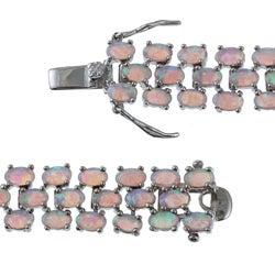 La Preciosa Sterling Silver Created Pink Opal Bracelet