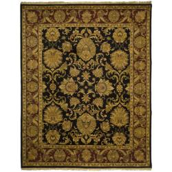 Indo Hand-knotted Jaipur Treasures Black/ Burgundy Wool Heirloom Rug (6' x 9')