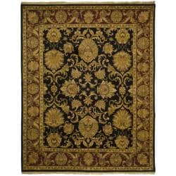 Indo Hand-knotted Jaipur Treasures Black/ Burgundy Wool Heirloom Rug (8' x 10')