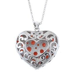 La Preciosa Sterling Silver Garnet Gemstone Heart Necklace