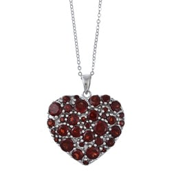 La Preciosa Sterling Silver Garnet Gemstone Heart Necklace