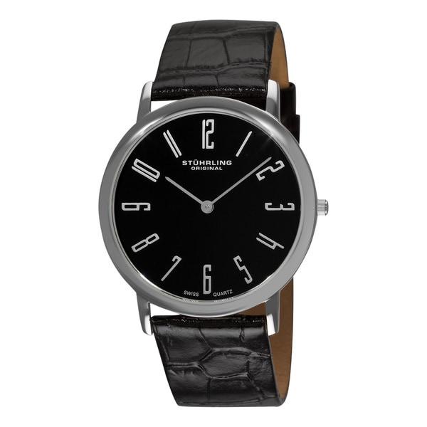 Stuhrling Original Men's Black 'Belmont' Ultra Slim Silvertone Watch