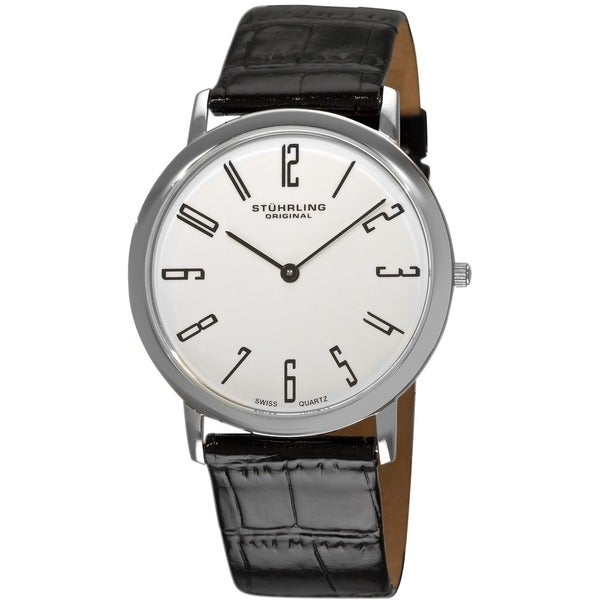 Stuhrling Original Men's White 'Belmont' Ultra Slim Watch