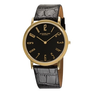 Stuhrling Original Men's Black 'Belmont' Ultra Slim Watch