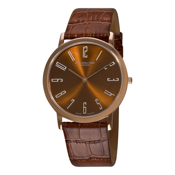 Stuhrling Original Men's Brown 'Belmont' Ultra Slim Watch