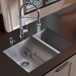 Vigo Undermount Stainless Steel Kitchen Sink, Faucet, Grid and Dispencer