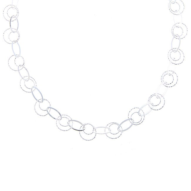 La Preciosa Sterling Silver Diamond-cut Link Necklace