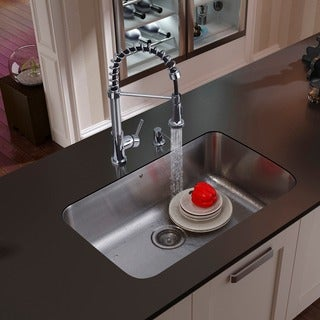 VIGO Undermount 304 Series Stainless-Steel Kitchen Sink, Faucet and Dispenser
