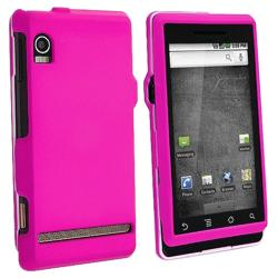 Hot Pink Snap-on Rubber Coated Case for Motorola A855 Droid