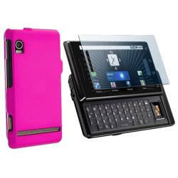 Hot Pink Snap-on Rubber Case/ Screen Protector for Motorola A855 Droid