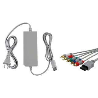 White AC Power Adapter/ Component Audio Video Cable for Nintendo Wii