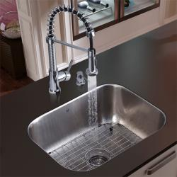 Vigo Undermount Stainless Steel Kitchen Sink, Coil-Wrapped Faucet, Grid and Dispenser