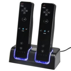 Dual Charging Station w/ 2 Rechargeable Batteries for Nintendo Wii