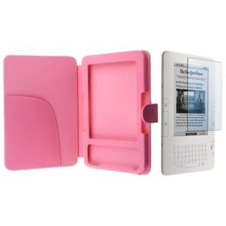 Pink Leather Case/ Screen Protector for Amazon Kindle 3