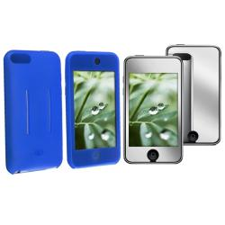 Blue Skin Case/ Mirror LCD Protector for Apple iPod Touch Gen 1/ 2/ 3
