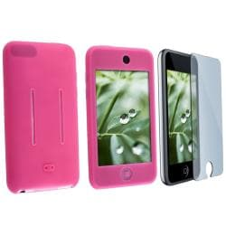 INSTEN Hot Pink Skin iPod Case Cover/ LCD Protector for Apple iPod Touch Gen 1/ 2/ 3