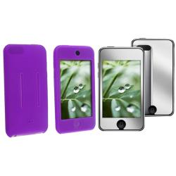 INSTEN Purple Skin iPod Case Cover/ Mirror LCD Protector for Apple iPod Touch Gen 2/ 3