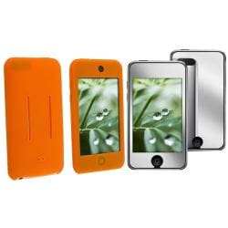 INSTEN Orange Skin iPod Case Cover/ Mirror LCD Protector for Apple iPod Touch Gen 2/ 3