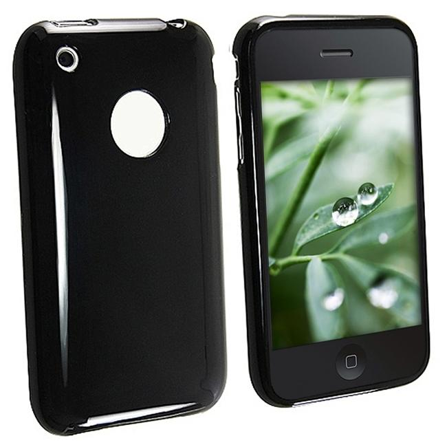INSTEN Black TPU Rubber Skin Phone Case Cover for Apple iPhone 3G/ 3GS
