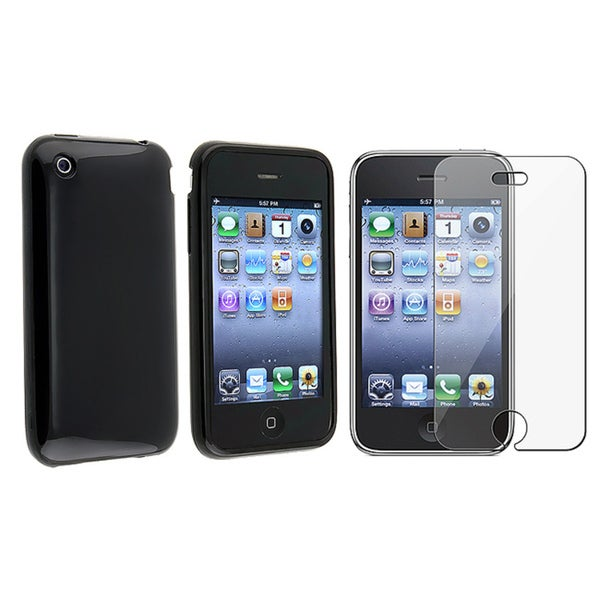 INSTEN Black TPU Rubber Skin Phone Case Cover/ Screen Protector for Apple iPhone 3G/ 3GS