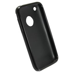 Black TPU Rubber Case/ Mirror LCD Protector for Apple iPhone 3G/ 3GS