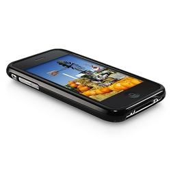 INSTEN Black TPU Rubber Phone Case Cover/ Mirror LCD Protector for Apple iPhone 3G/ 3GS