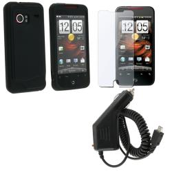 3-piece Skin Case/ LCD Protector/ Car Charger for HTC Droid Incredible