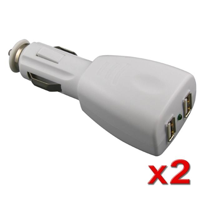 INSTEN White 2-port Universal USB Car Charger Adapter (Pack of 2)