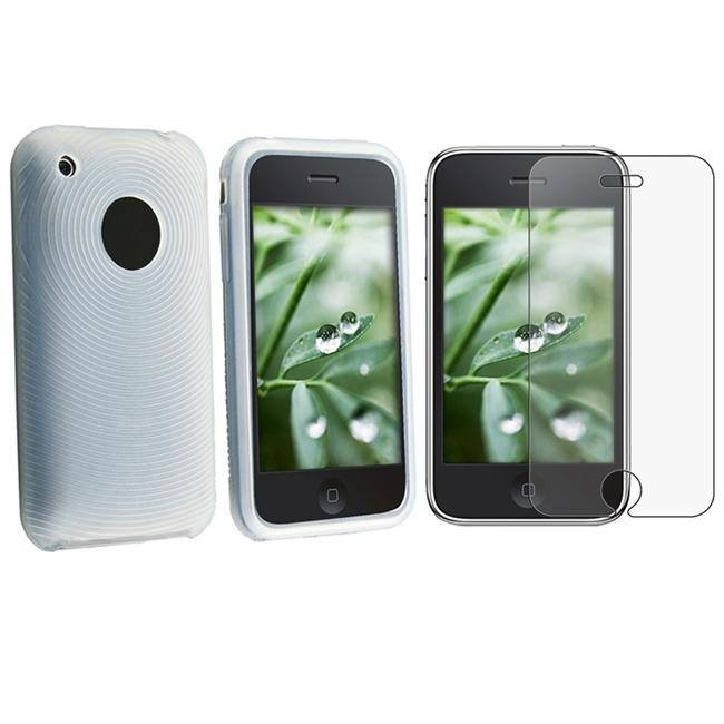 White Skin Case/ Anti-glare Screen Protector for Apple iPhone 3G/ 3GS