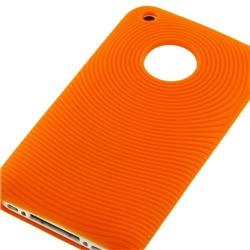 3-piece Black/ Orange Skin Case/ Mirror LCD Cover for Apple iPhone 3GS