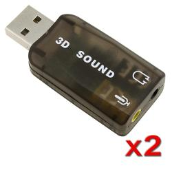 USB to Headset/ Microphone PC Sound Card Adapter (Pack of 2)