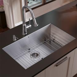 Vigo Undermount Stainless Steel Kitchen Sink, Faucet with Pull-Out Spray Head, Grid and Dispenser