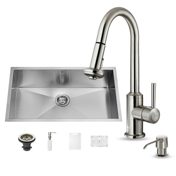 vigo undermount stainless steel kitchen sink faucet with pull out spray kitchen faucet swivel spout sink single