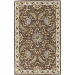 Hand-tufted Tapestry Golden Brown Wool Rug (5' x 8')