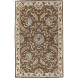 Hand-tufted Tapestry Golden Brown Wool Rug (8' x 11')
