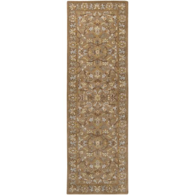 Hand-tufted Tapestry Mocha Wool Rug (2'6 x 8')