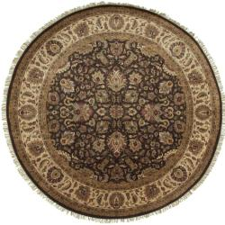 Hand-knotted Medallion Brown Wool Rug (8' Round)
