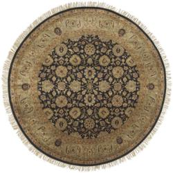 Hand-knotted Medallion Black Wool Rug (8' Round)