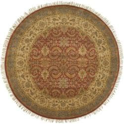 Hand-knotted Medallion Cinnamon Wool Rug (8' Round)