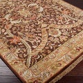 Hand-knotted Taj Mahal Brown Wool Rug (8' Square)