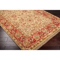 Traditional Hand-Knotted Finial Red Wool Rug (8' Square)
