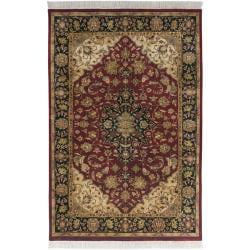 Hand-knotted Finial Burgundy Red Wool Rug (7'9 x 9'9)
