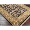 Hand-knotted Taj Mahal Black Wool Rug (8' Square)