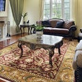 Hand-knotted Finial Burgundy Wool Rug (5'6 x 8'6)