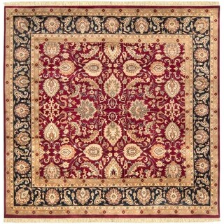 Hand-knotted Taj Mahal Dark Burgundy Wool Rug (8' Square)